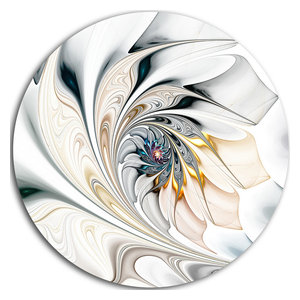 """White Stained Glass Floral Art, Floral Disc Metal Wall Art, 38"""""""