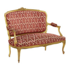 Consigned French Louis XV Style Carved Giltwood Antique Settee Sofa