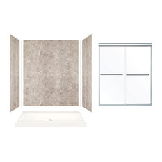 """Expressions Alcove Shower Kit With Door, Dover Stone, 60""""x32""""x72"""", Silver Door F"""