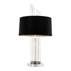 Eichholtz Rex Black Glass Table Lamp, Nickel