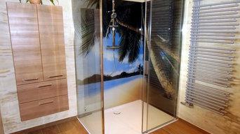 Glasrückwand aus Glas mit Druck
