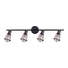 Industrial track lighting kits houzz canarm canarm otto 4 light track light with cage shades graphite finish mozeypictures Image collections