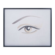 Eye Painting  - Black Frame Made Of Mahogany/Recycled Paper In Grain De Bois