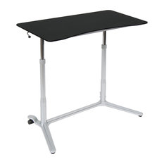 Sierra Adjustable Height Sit To Stand Up Desk, Silver and Black