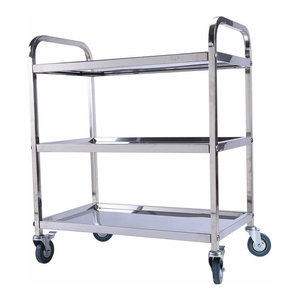 Serving Trolley Cart, Stainless Steel With 3-Shelf and 2 Lockable Wheels