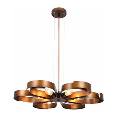 Copper Finish Metal Pendant Light, 6 Light Industrial Floral Chandelier