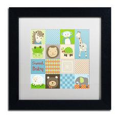 """Jennifer Nilsson 'Baby Boy Animal Quilt' Art, Black Frame, 11""""x11"""", White Matte"""