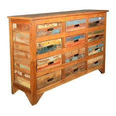 Multicolored Rustic Reclaimed Wood 12 Drawer Horizontal Dresser