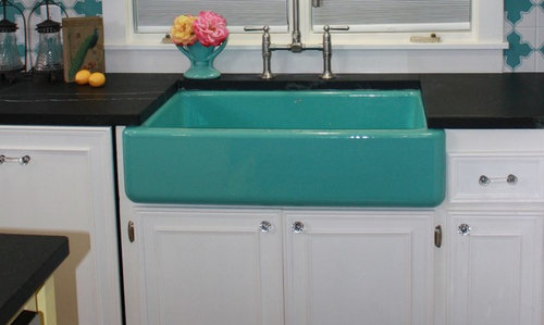 Need a pop of color in your kitchen? Try Kohler\'s apron front sinks!