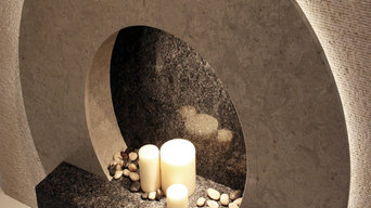 "The ""O"" - Natural Stone fireplace"