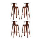 Industrial Bar Stool, Copper, With Back Rest, Set of 4