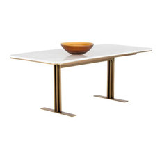 Antique Brass Metal Dining Table With Marble Top