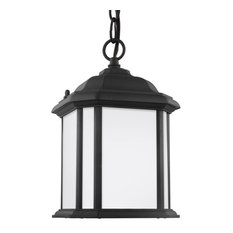 Sea Gull Lighting - Sea Gull Kent 1-Light Outdoor Semi-Flush Convertible Pendant, Black - 60529-12 -