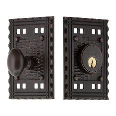 Beau Nostalgic Warehouse   Craftsman Plate Single Cylinder Deadbolt, Timeless  Bronze   Door Entry Sets