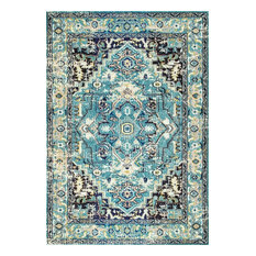 "Traditional Vibrant Center Medallion Rug, Aqua, 7'10""x11'"