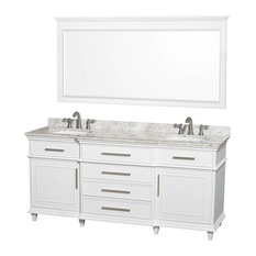 "72"" Double Bathroom Vanity Set With White Carrera Marble Top"