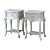 Set of 2 1-Drawer Grey Bedside Lamp Tables, Elise Grey Range