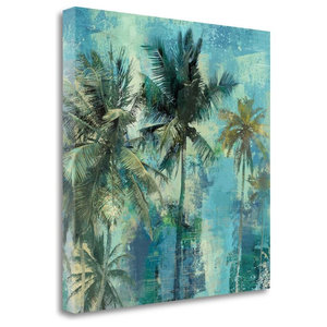 """Teal Palms"" By Eric Yang, Giclee Print on Gallery Wrap Canvas, Ready to Hang"