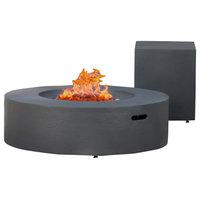 GDF Studio Hearth Circular 50K BTU Gas Fire Pit Table With Tank Holder, Gray