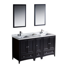 "Oxford 60"" Espresso Double Sink Vanity, Side Cabin Versa Brushed Nickel Faucet"