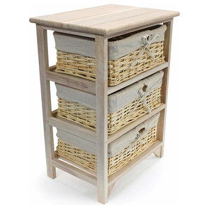 Traditional Storage Cabinet in Oak Finished Wooden Frame With Wicker Baskets