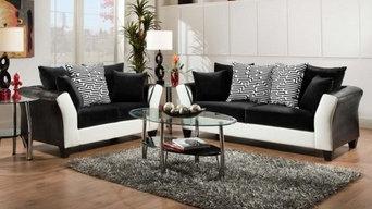 Riverstone Implosion Velvet Living Room Set, Black