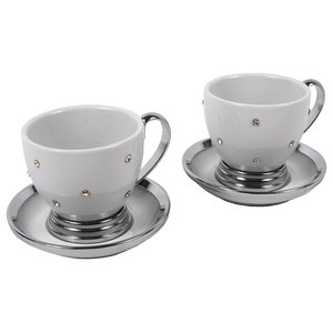 Porcelain and Diamond Tea Cup and Saucers, Set of 2