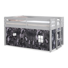 Jasper Twin Junior Loft Bed and Play Tent, Bed Color: Dove Gray, Tent: Gray Camo