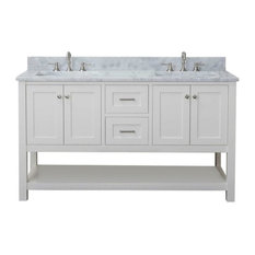 """Cabinet Mania White Shaker 60"""" Bathroom Vanity, 2-Sink, Open Shelf With Marble T"""