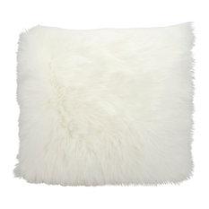 "Nourison - Mina Victory Fur Remen Faux Fur Pillow, White, 22""x22"" - Decorative Pillows"