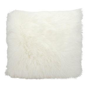 """Mina Victory Fur Remen Faux Fur Pillow, White, 22""""x22"""""""