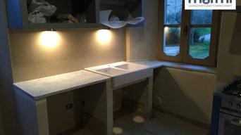 Top cucina in bianco Carrara anticato