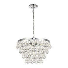 "Kora Collection Pendant, 17""x10.9"", 5-Light, Chrome Finish"