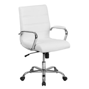 Flash Furniture Mid Back Leather Swivel Office Chair in White