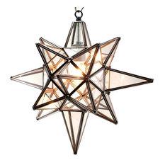 Star of Bethlehem, Moravian Star Pendant, Clear Glass, Bronze Frame,15x18