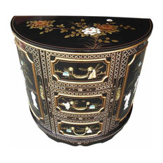 Traditional Storage Cabinet in MDF with Drawers, Half Moon Oriental Design