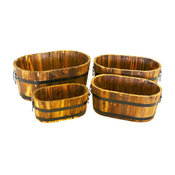 Wood Oval Planters, Burnished Planters for Garden Patio, 4-Piece Set