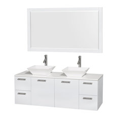 "Amare 60"" Double Vanity Glossy White, White Stone Top, Pyra White Porcelain Sink"