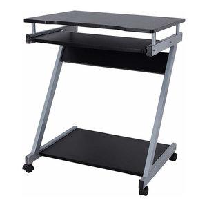 Modern Desk, MDF and Veneer With Sliding Keyboard Tray, Z-Shaped Design, Black