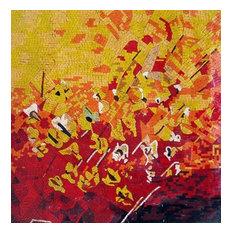 "Mozaico - Abstract Mosaic Designs, Poppy Field, 35""x35"" - Tile Murals"