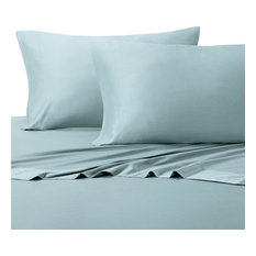 Bamboo Cotton Blend Silky Hybrid Sheet Set, Blue, Full