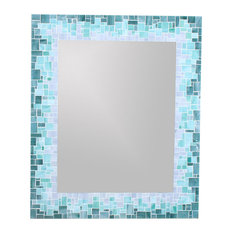 Sunburst Mirror In Glass Mosaic Tiles Of Blue, Green And Grey Glass Tiles,