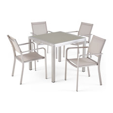 Bexey Outdoor Modern 4 Seater Aluminum Dining Set With Tempered Glass Table Top