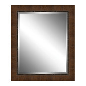 Brown Wood Paneled Effect Framed Plate Glass Mirror