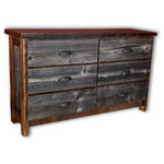 Vienna Industries, LLC - Weathered Gray Barnwood Dresser 6-Drawer - Made entirely from reclaimed barnwood, this dresser is a handcrafted in the United States.