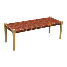Midte Handwoven Leather Bench, Tan