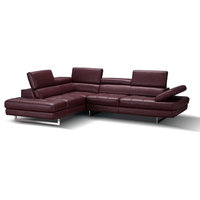 A761 Italian Leather Sectional Sofa in Maroon, Left Hand Facing Chaise