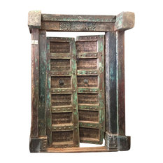 "Mogul Interior - Consigned Antique Doors ""SHEKHAWATI"" Garden of Shekha, Green Patina Double Door - Front Doors"