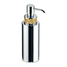 Manillons Torrent - Swarovski Crystals Countertop Soap Dispenser, Chrome and Gold - Soap & Lotion Dispensers