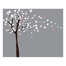 Tree Wall Decal - White Cherry Blossom Wall Decal - Flowers Blowing In Wind